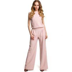 Odzież damska: Pudrowy Elegancki Kombinezon z Wysokim Kołnierzem