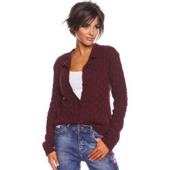 """Odzież damska: Sweter rozpinany """"Agathe"""" w kolorze bordowym"""