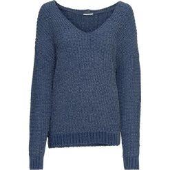 Sweter z szenili bonprix indygo. Niebieskie swetry klasyczne damskie bonprix, z dekoltem w serek. Za 79,99 zł.