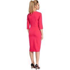 CHARLA Sukienka midi z falbanką na biuście - różowa. Czerwone sukienki na komunię Moe, z falbankami, midi, ołówkowe. Za 154,90 zł.