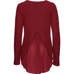 Swetry klasyczne damskie: Sweter z szyfonową wstawką bonprix czerwony kasztanowy