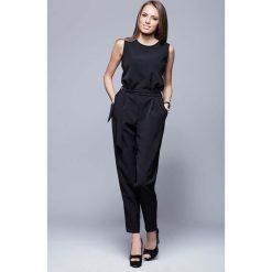 Odzież damska: Czarny Elegancki Kombinezon bez Rękawów