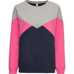 Bluza dresowa bonprix szaro-ciemnoniebiesko-różowy. Szare bluzy damskie bonprix, z dresówki. Za 69,99 zł.