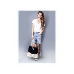 Torba black and white. Białe torebki klasyczne damskie drops, z bawełny, duże. Za 95,00 zł.