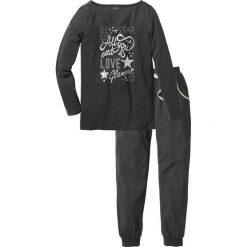 Piżama bonprix antracytowy melanż - srebrny z nadrukiem. Szare piżamy damskie bonprix, melanż. Za 79,99 zł.