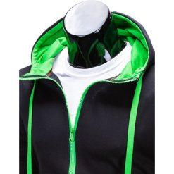BLUZA MĘSKA ROZPINANA Z KAPTUREM B485 - CZARNA/ZIELONA. Czarne bluzy męskie rozpinane marki Ombre Clothing, m, z bawełny, z kapturem. Za 39,00 zł.