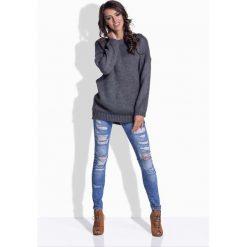Swetry damskie: Grafitowy Oversizowy Sweter z Satynową Wstążką na Plecach