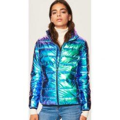 Bomberki damskie: Pikowana kurtka o holograficznym połysku - Wielobarwn