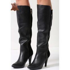 Buty zimowe damskie: Czarne Skórzane Kozaki Alexis