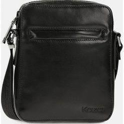 Czarna torba przez ramię. Czarne torby na ramię męskie Kazar, w paski, ze skóry, przez ramię, małe. Za 399,00 zł.