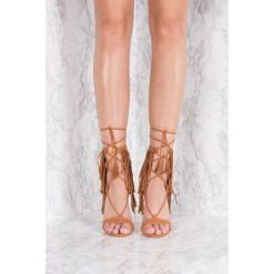 Szpilki: NA-KD Shoes Szpilki z frędzlami – Brown