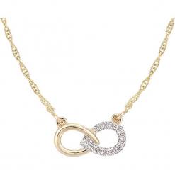 Złoty naszyjnik z diamentowym elementem ozdobnym - dł. 42 cm. Żółte naszyjniki damskie marki METROPOLITAN, pozłacane. W wyprzedaży za 517,95 zł.