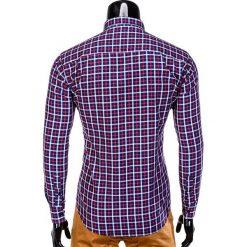 KOSZULA MĘSKA W KRATĘ Z DŁUGIM RĘKAWEM K387 - GRANATOWA/CZERWONA. Brązowe koszule męskie na spinki marki Ombre Clothing, m, z aplikacjami, z kontrastowym kołnierzykiem, z długim rękawem. Za 49,00 zł.