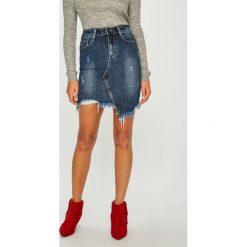 Answear - Spódnica. Szare spódniczki marki ANSWEAR, l, z bawełny, z podwyższonym stanem, mini, asymetryczne. Za 119,90 zł.