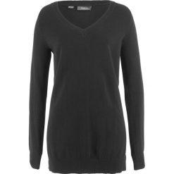 Swetry klasyczne damskie: Sweter z głębokim dekoltem w serek bonprix czarny