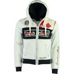 """Bluza """"Face"""" w kolorze białym. Białe bluzy męskie Canadian Peak, l, z aplikacjami, prążkowane. W wyprzedaży za 136,95 zł."""