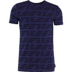 Emporio Armani LOGO ALLOVER Tshirt z nadrukiem blue. Szare koszulki polo marki Emporio Armani, l, z bawełny, z kapturem. Za 379,00 zł.