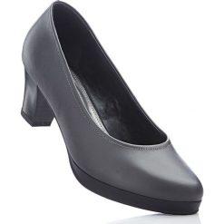 Czółenka skórzane bonprix szary. Szare buty ślubne damskie bonprix, na obcasie. Za 124,99 zł.