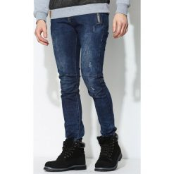 Granatowe Jeansy Deserved. Czarne jeansy męskie marki Born2be, l, z aplikacjami, z dresówki. Za 74,99 zł.