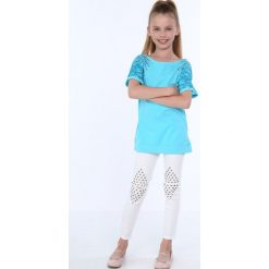 T-shirty dziewczęce: Bluzka dziewczęca z okrągłymi ćwiekami turkusowa NDZ8282