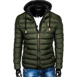 KURTKA MĘSKA PRZEJŚCIOWA PIKOWANA C384 - KHAKI. Brązowe kurtki męskie pikowane Ombre Clothing, m, z materiału. Za 149,00 zł.