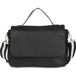 Torba z paskiem na ramię w pasy bonprix czarny - złoty kolor. Czarne torebki klasyczne damskie bonprix. Za 44,99 zł.