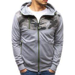 Bluzy męskie: Bluza męska rozpinana z kapturem szara (bx3486)