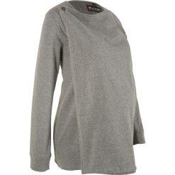 Bluza rozpinana ciążowa i do karmienia piersią bonprix szary melanż. Niebieskie bluzy ciążowe marki bonprix, z materiału, z dekoltem w serek. Za 99,99 zł.