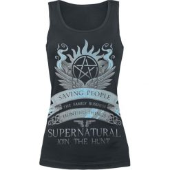 Supernatural Saving People Top damski czarny. Czarne topy damskie Supernatural, xl, z nadrukiem, z okrągłym kołnierzem. Za 74,90 zł.