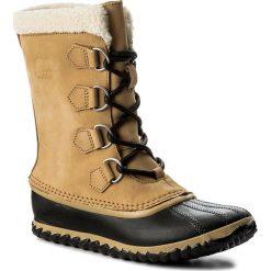 Śniegowce SOREL - Caribou Slim NL2649 Curry/Black 373. Brązowe śniegowce damskie Sorel, z gumy. W wyprzedaży za 339,00 zł.