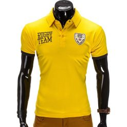 KOSZULKA MĘSKA POLO Z NADRUKIEM S514 - ŻÓŁTA. Żółte koszulki polo Ombre Clothing, m, w kolorowe wzory, z bawełny. Za 19,99 zł.
