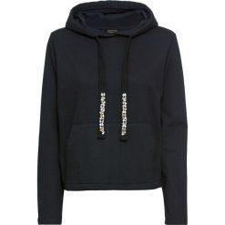Bluza dresowa bonprix czarny. Czarne bluzy damskie bonprix, z aplikacjami, z dresówki. Za 89,99 zł.