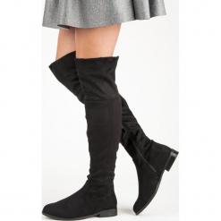 MUSZKIETERKI NA PŁASKIM OBCASIE. Czarne buty zimowe damskie SUPER ME, na płaskiej podeszwie. Za 143,00 zł.