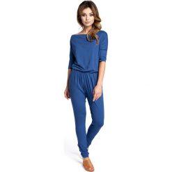 Odzież damska: Niebieski Kombinezon z Dekoltem Typu Woda
