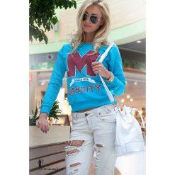 Bluzy damskie: Niebieska Bluza z napisem F212