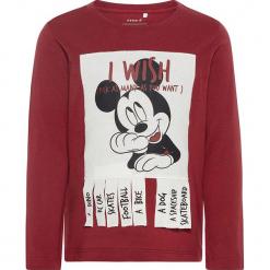 """Koszulka """"Mickey"""" w kolorze ciemnoczerwonym. Czerwone t-shirty chłopięce z długim rękawem Name it Kids, z aplikacjami, z bawełny. W wyprzedaży za 49,95 zł."""