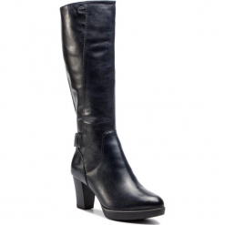 Kozaki TAMARIS - 1-25525-21 Navy 805. Niebieskie buty zimowe damskie Tamaris, ze skóry, na obcasie. Za 499,90 zł.