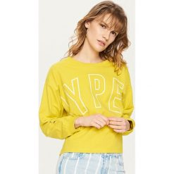 Bluzy damskie: Krótka bluza z nadrukiem – Zielony