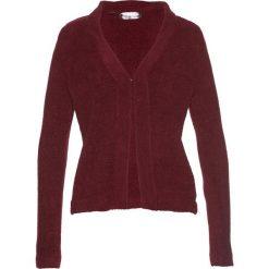 Swetry rozpinane damskie: Sweter rozpinany z puszystej przędzy bonprix czerwony klonowy