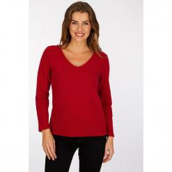 """Koszulka """"Franklyn"""" w kolorze czerwonym. Czerwone bluzki nietoperze Scottage, z bawełny, klasyczne, z długim rękawem. W wyprzedaży za 63,95 zł."""