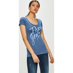 Pepe Jeans - Top. Szare topy damskie Pepe Jeans, l, z nadrukiem, z bawełny, z okrągłym kołnierzem. Za 99,90 zł.