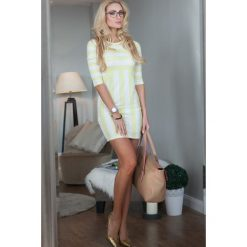 Sukienki: Sukienka w paski cytrynowa