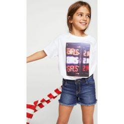 Mango Kids - Szorty dziecięce Isabel 104-164 cm. Czarne szorty jeansowe damskie marki Mayoral, w paski, casualowe. W wyprzedaży za 49,90 zł.