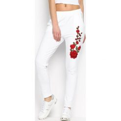 Spodnie dresowe damskie: Białe Spodnie Dresowe Rosy Roses