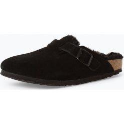 Birkenstock - Sandały damskie ze skóry – Boston Fur, czarny. Szare sandały damskie marki Birkenstock, z materiału. Za 529,95 zł.