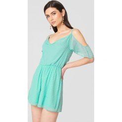 Oh My Love Kombinezon z wycięciami na ramionach - Green,Turquoise. Brązowe sukienki na komunię marki bonprix, na ramiączkach. W wyprzedaży za 78,89 zł.