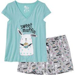 Piżamy damskie: Piżama z krótkimi spodenkami bonprix jasnoszary melanż - morski pastelowy