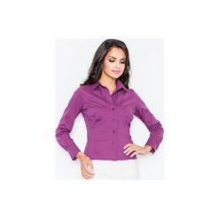 Koszula M021 Bakłażan. Fioletowe koszule wiązane damskie FIGL, m, z bawełny, klasyczne, z klasycznym kołnierzykiem, z długim rękawem. Za 73,00 zł.