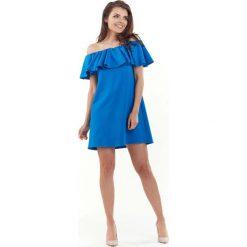 Niebieska Wyjściowa Sukienka Mini Typu Hiszpanka. Szare sukienki hiszpanki marki Molly.pl, l, w koronkowe wzory, z koronki, eleganckie, z dekoltem typu hiszpanka, z krótkim rękawem, midi, dopasowane. Za 119,90 zł.