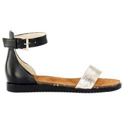Sandały damskie: Skórzane sandały w kolorze czarno-srebrnym